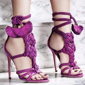 Brian Atwood Magenta Yuna Braided Leather Sandals